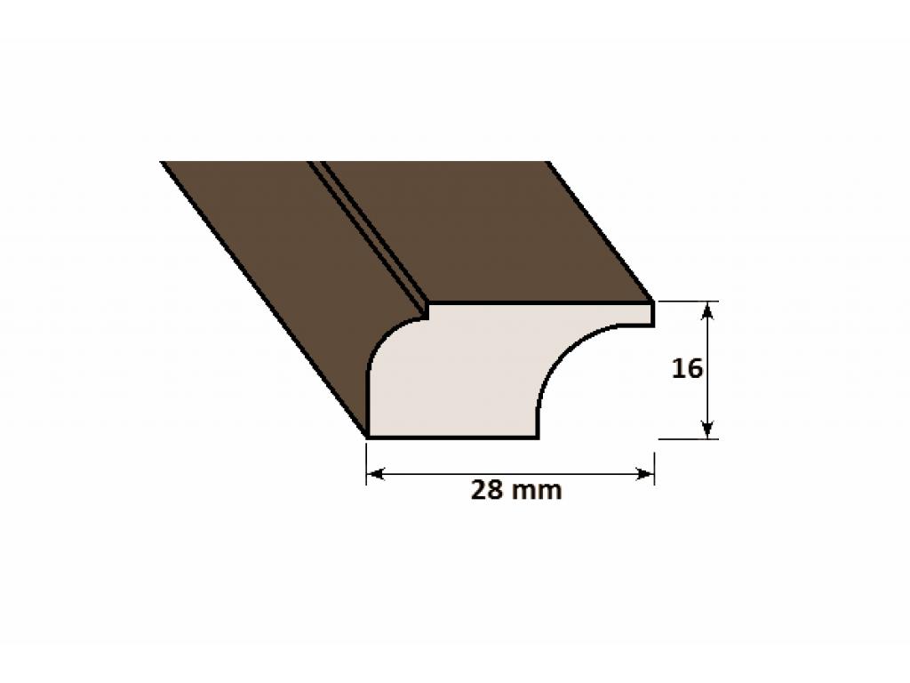 Lišta drevená D 28 x 16 mm