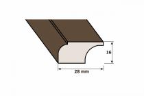 Lišta drevená D 16 x 28 mm