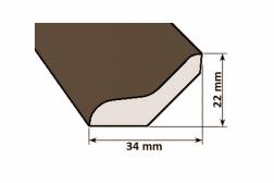 Lišta drevená V 34 x 22 mm